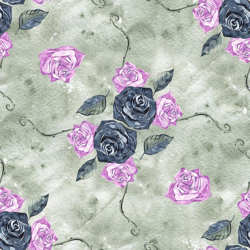 Hand Drawn Roses, Mimicking Folk Embroidery Stitches, on Dark Blue Background Floral Seamless Pattern.  royalty free stock photography