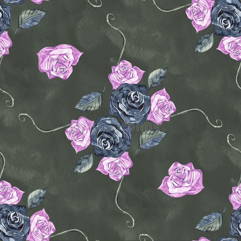 Hand Drawn Roses, Mimicking Folk Embroidery Stitches, on Dark Blue Background Floral Seamless Pattern.  vector illustration