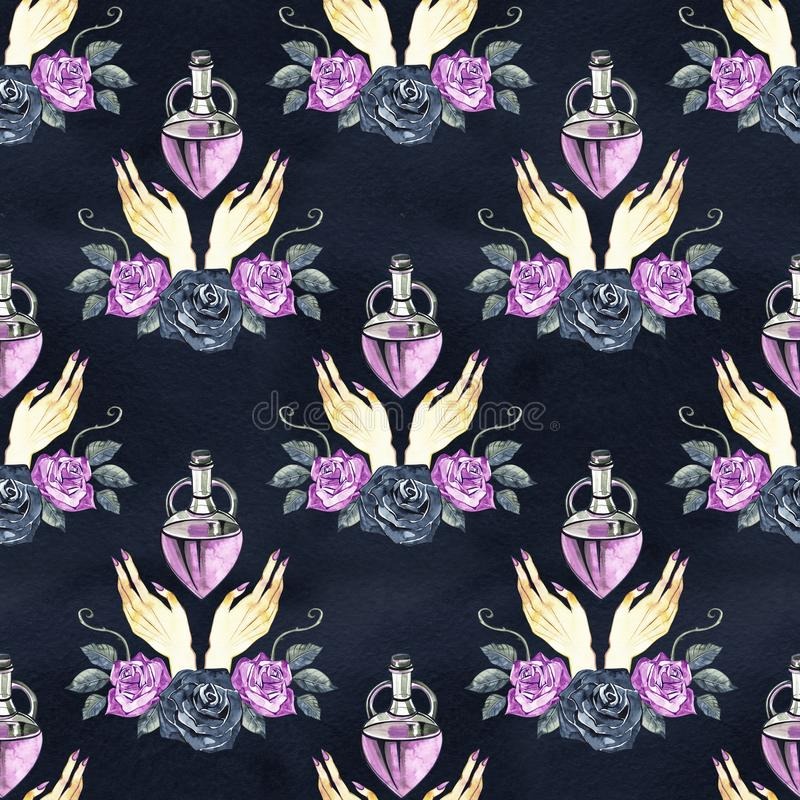 Hand Drawn Roses, Mimicking Folk Embroidery Stitches, on Dark Blue Background Floral Seamless Pattern royalty free stock images