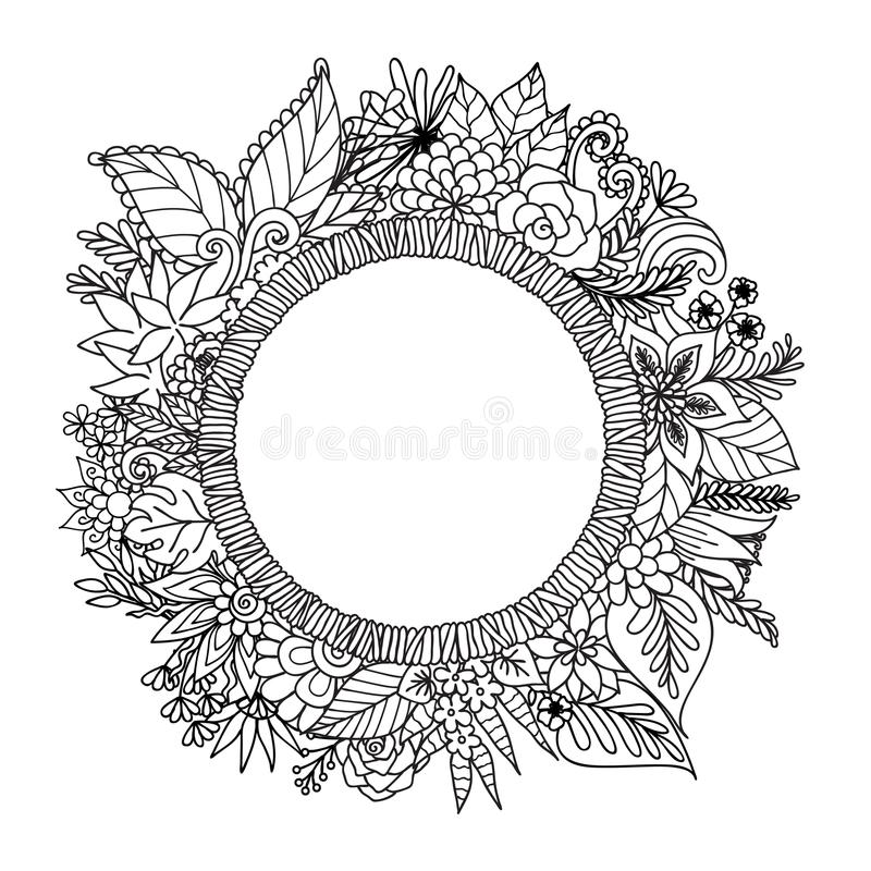 Hand drawn round banner with flowers,leaves and copy space for your customs texts for design element and coloring book page.Vector vector illustration