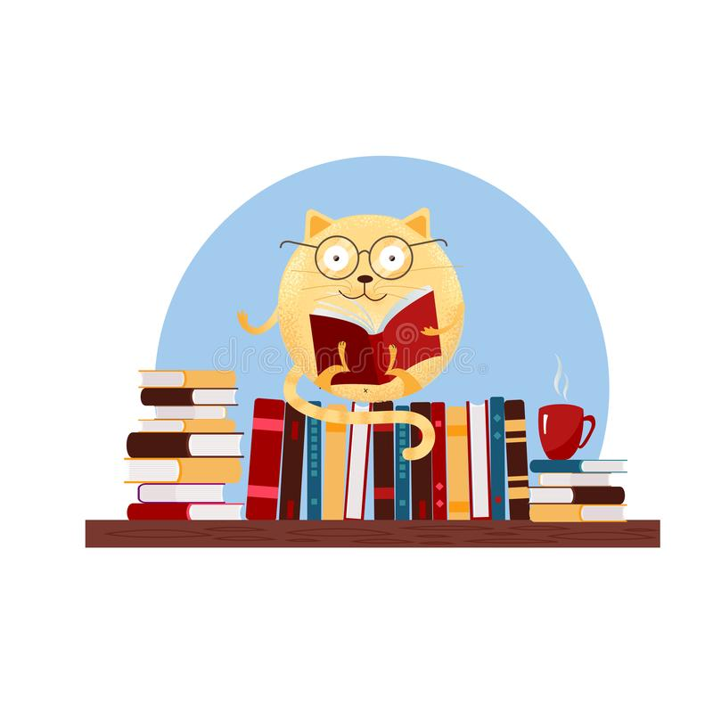 Hand drawn round fantasy cat in glasses sitting on bookshelf and reading book. Textured flat cartoon Vector illustration on white stock illustration