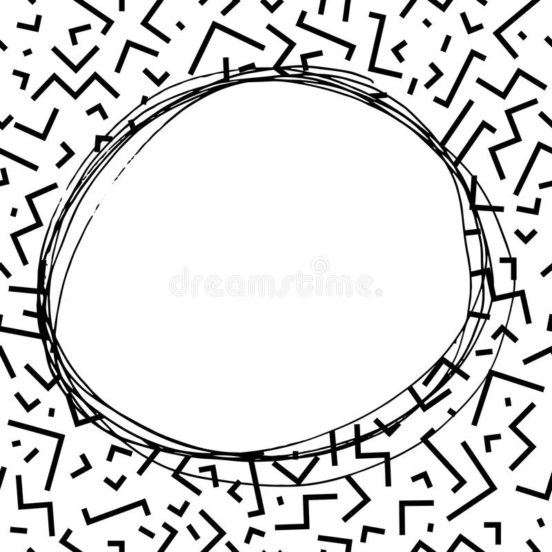 Hand drawn round frame in memphis style. Fashion 80-90s. stock illustration