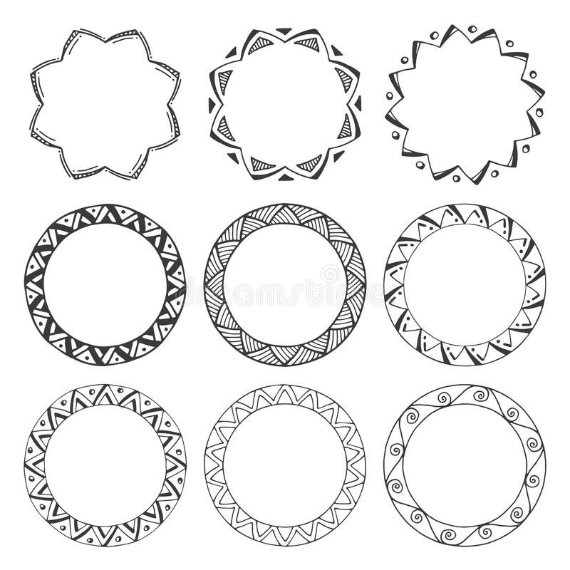 Hand Drawn Round Frames, Circle Ornaments Stock Vector ...