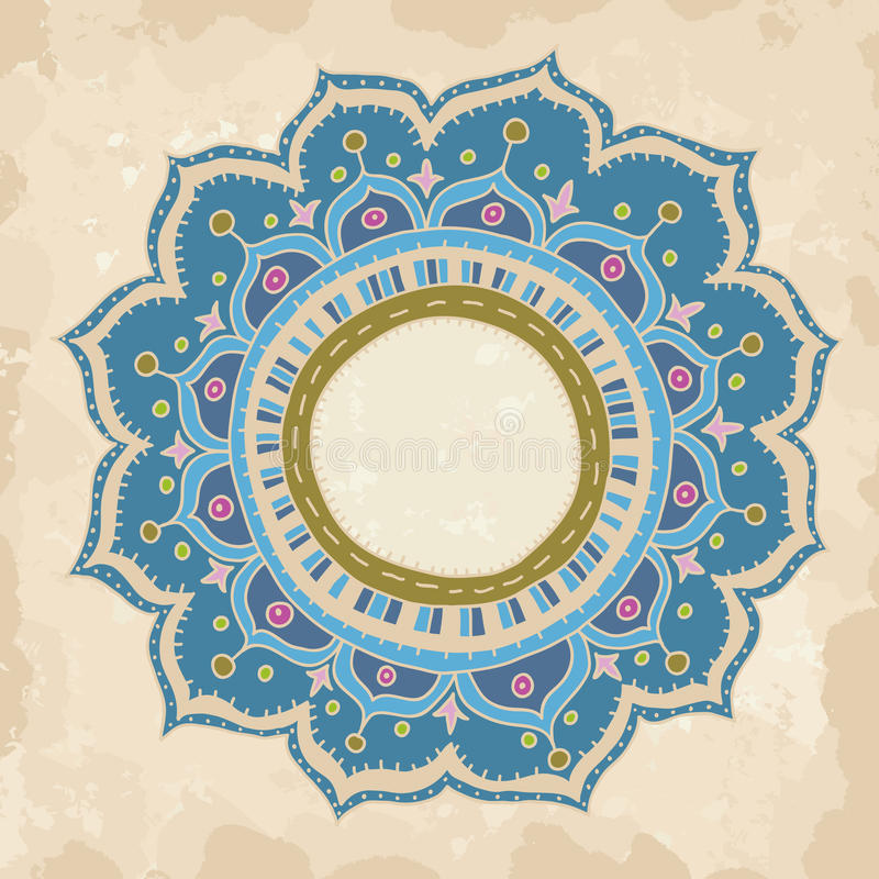 Hand drawn round ornament. Hand drawn mandala on vintage background. Round ornament with place for text stock illustration