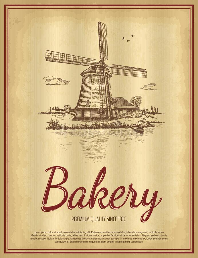 Free Hand Drawn Rural Landscape With Bakery Lettering. Vintage Windmill, River, Barn, Sky With Clouds, Birds, Boat. Royalty Free Stock Photo - 187538895
