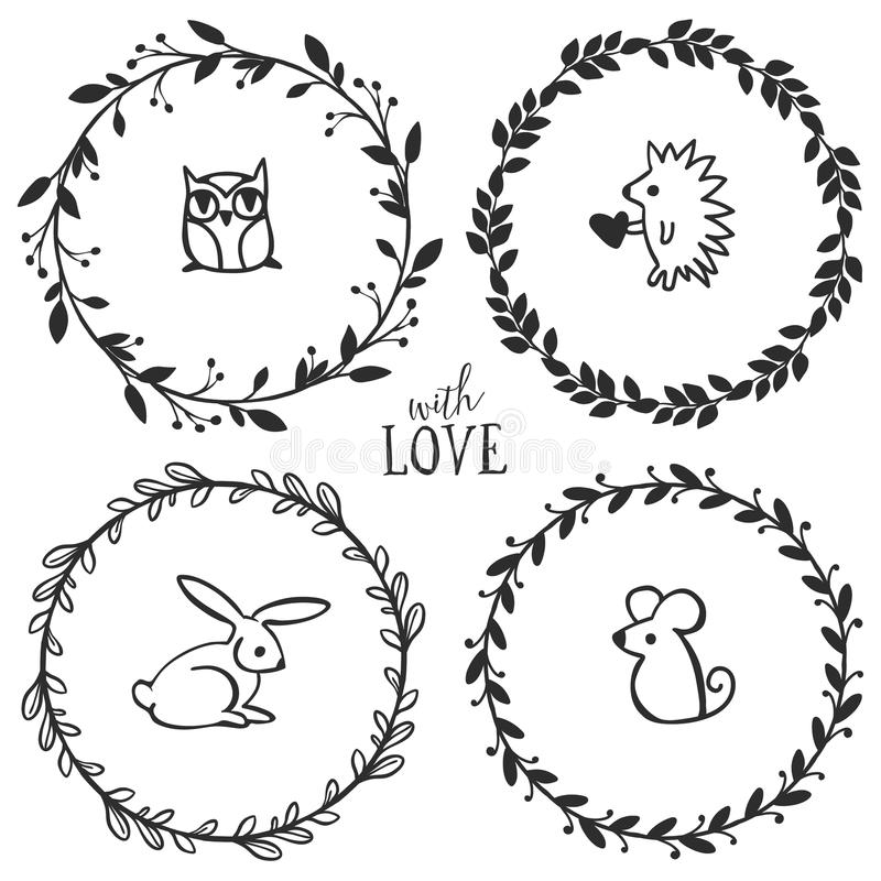 Hand drawn rustic vintage wreaths with lettering. And cute little animals. Floral vector graphic. Nature design elements vector illustration