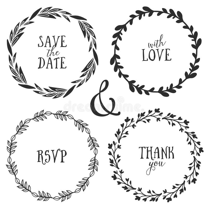 Hand drawn rustic vintage wreaths with lettering. Floral vector royalty free illustration