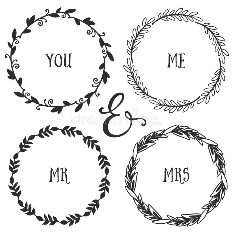 Hand drawn rustic vintage wreaths with lettering. Floral vector stock illustration