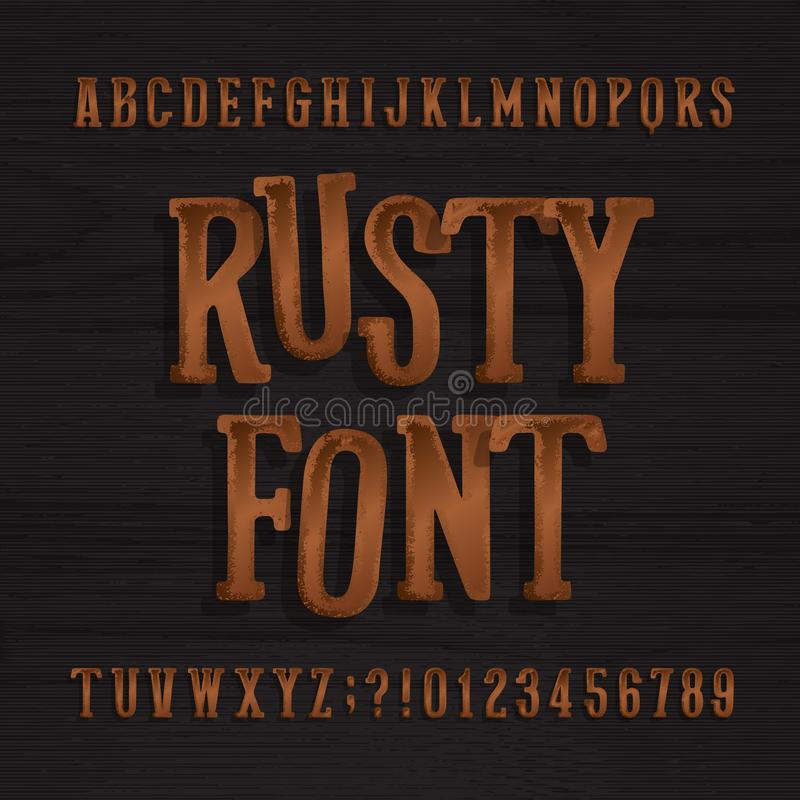 Hand drawn rusty vintage typeface. Retro alphabet font. Type letters and numbers on a rough wooden background. Stock vector typeset for your headers or any vector illustration