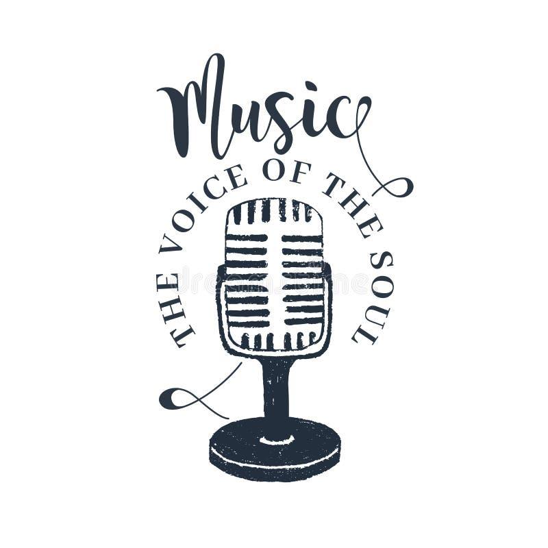 Hand drawn retro microphone vector illustration. Hand drawn 90s themed badge with microphone vector illustration and `Music. The voice of the soul` vector illustration