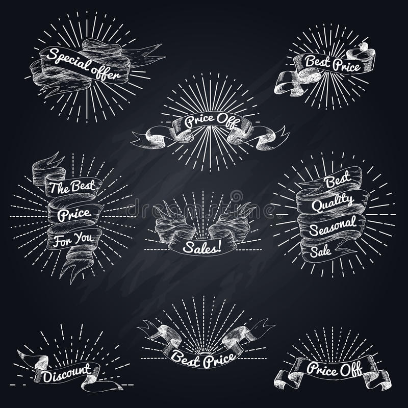 Hand Drawn Sale Ribbon Set. With advertising inscriptions and sunbursts in vintage style isolated vector illustration stock illustration