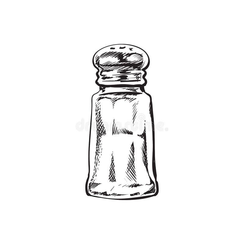 Hand drawn salt mill, shaker, grinder, vector illustration stock illustration