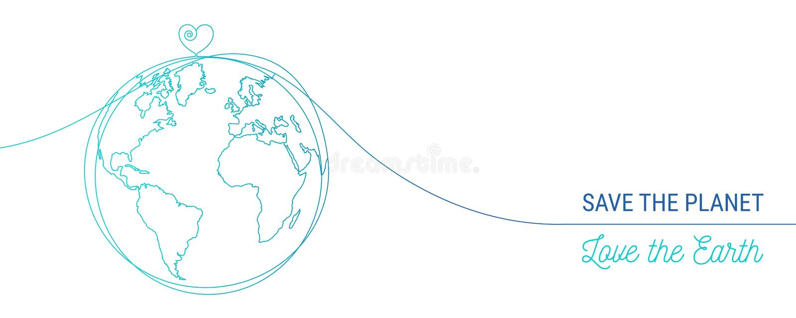 Hand drawn save the world concept vector illustration