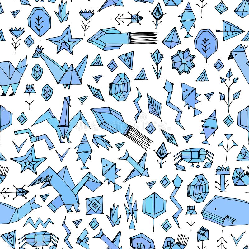 Hand Drawn Scandinavian Seamless Pattern With Marine Animals And ...