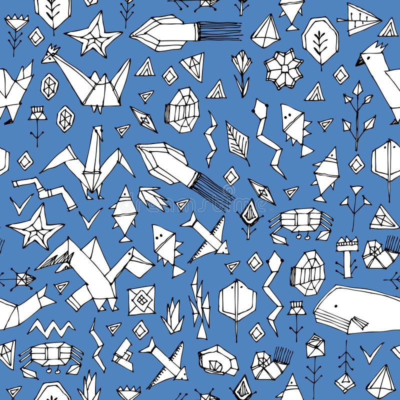 Hand drawn scandinavian seamless pattern with Marine animals and plants, black contours decorative contemporary elements Stylized. Origami. Blue geometric print royalty free illustration
