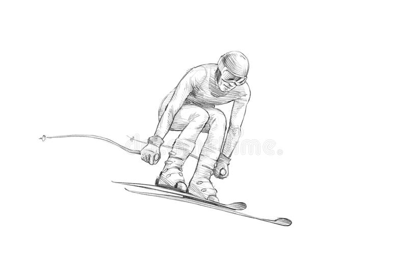 Hand-drawn Schets, Potloodillustratie van een Alpiene Skiër Jumpin vector illustratie