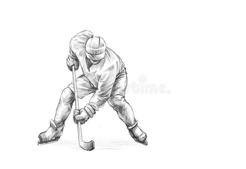 Hand-drawn Schets, Potloodillustratie van een Ijshockeyspeler stock illustratie