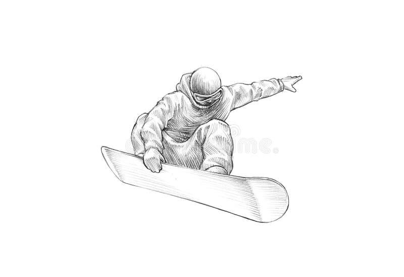 Hand-drawn Schets - Potloodillustratie van een Snowboarder Mid Air royalty-vrije stock foto's