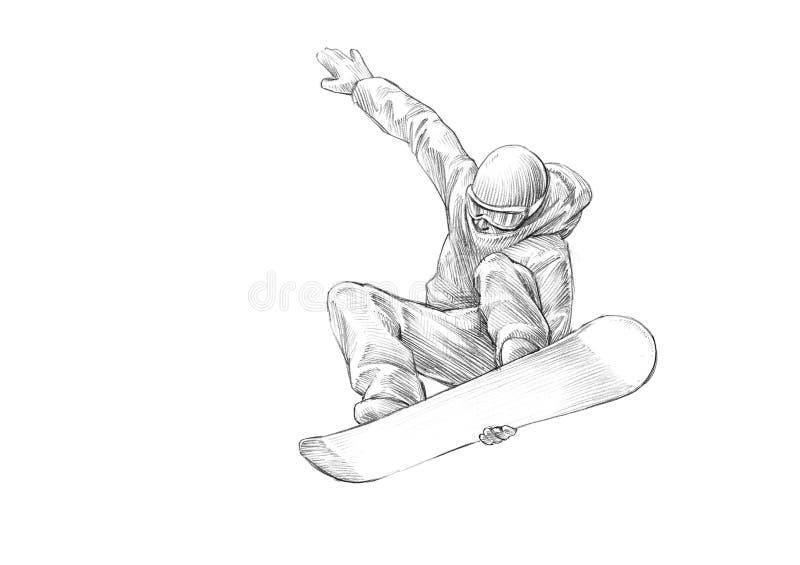Hand-drawn Schets - Potloodillustratie van een Snowboarder Mid Air stock afbeelding