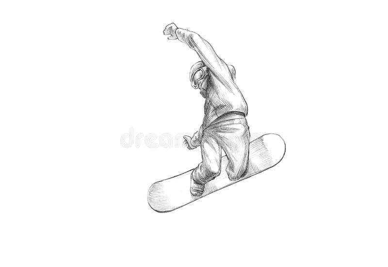 Hand-drawn Schets - Potloodillustratie van een Snowboarder Mid Air stock foto