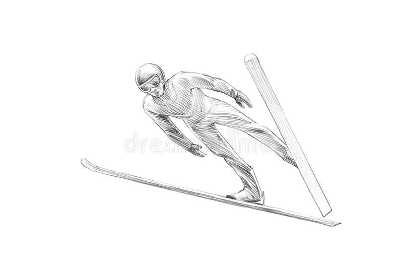 Hand-drawn Schets, Potloodillustratie van Ski Jumper Mid Air stock illustratie