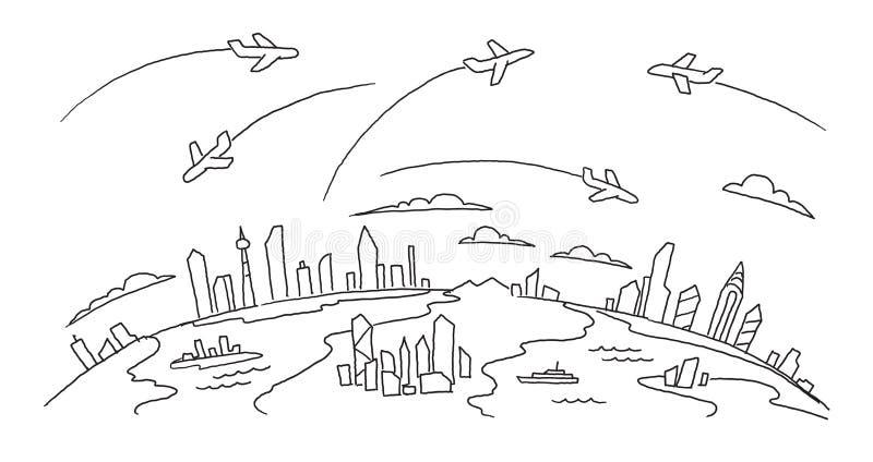 Hand-drawn schets stegenvlieg over de steden boven de grond-lucht- banner van de vluchtenluchtvaartlijn Hand getrokken zwarte lij stock illustratie