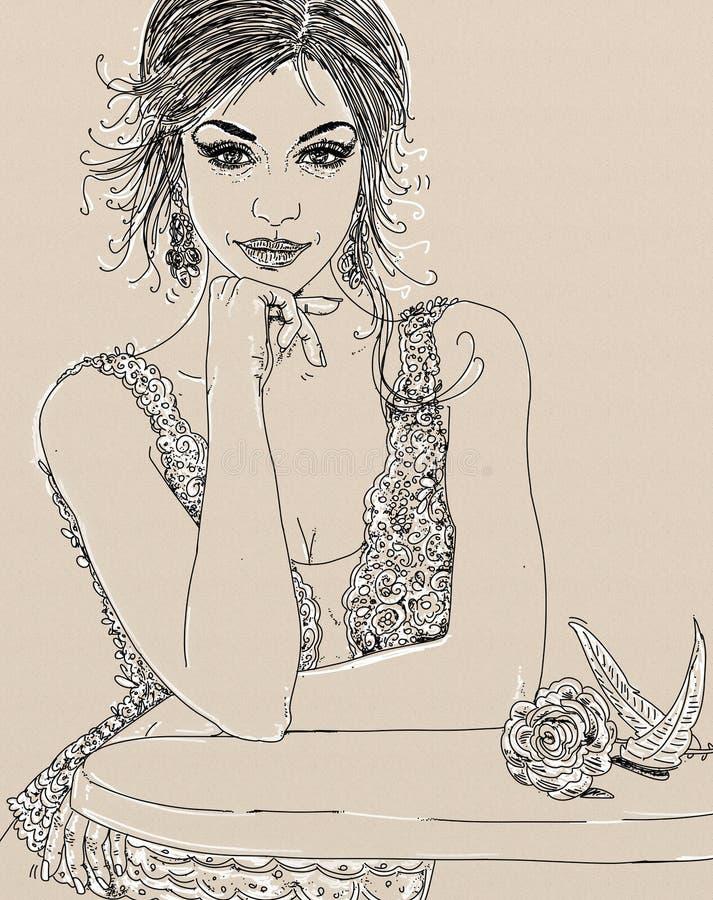 Hand-drawn schets van het gezicht van de vrouw royalty-vrije stock foto's