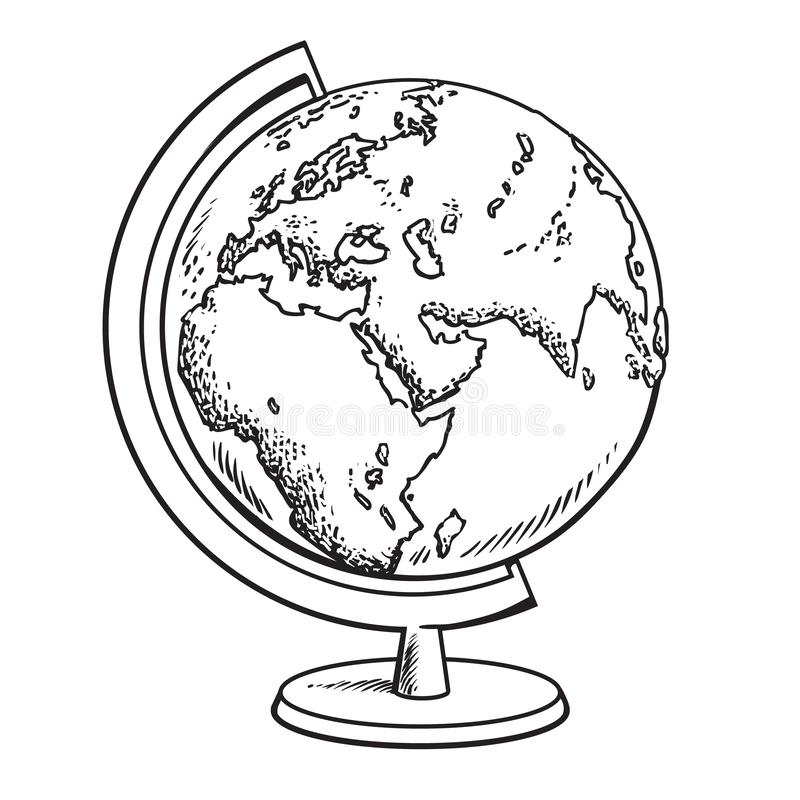 Hand drawn school globe. Model of Earth.Geography icon. Black and white sketch vector illustration isolated. Hand drawn school globe. Model of Earth.Geography vector illustration
