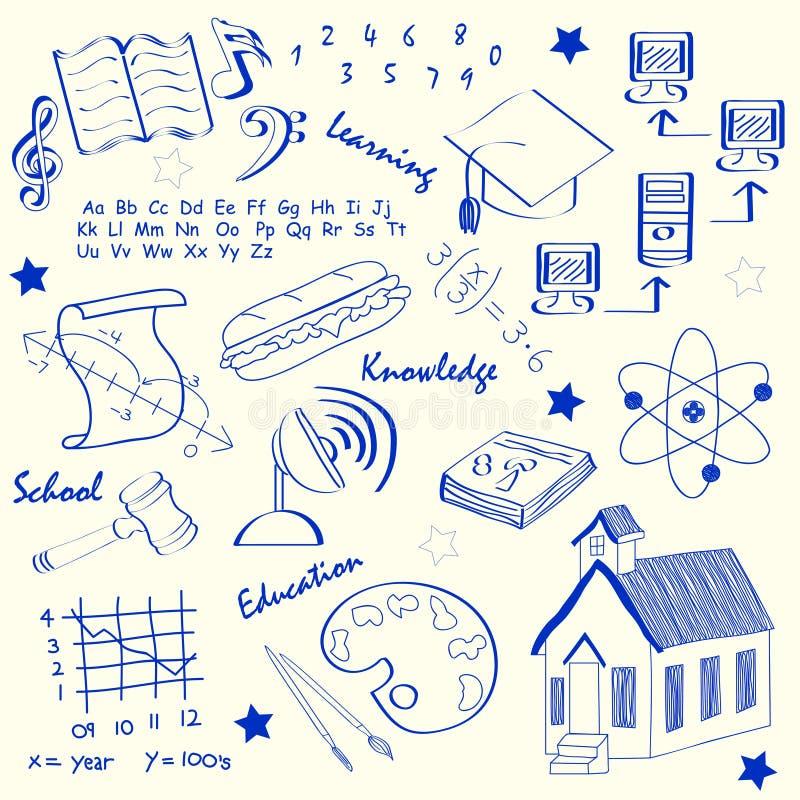 Hand Drawn School Icon Set stock illustration