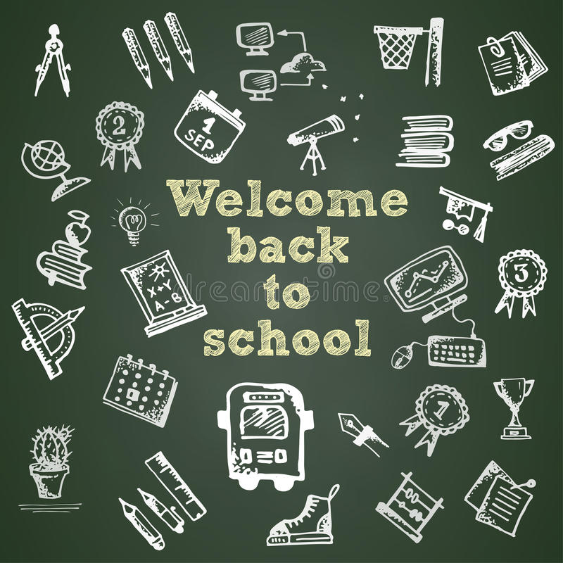 Hand Drawn School Symbol On Green Chalkboard With Text Welcome Back