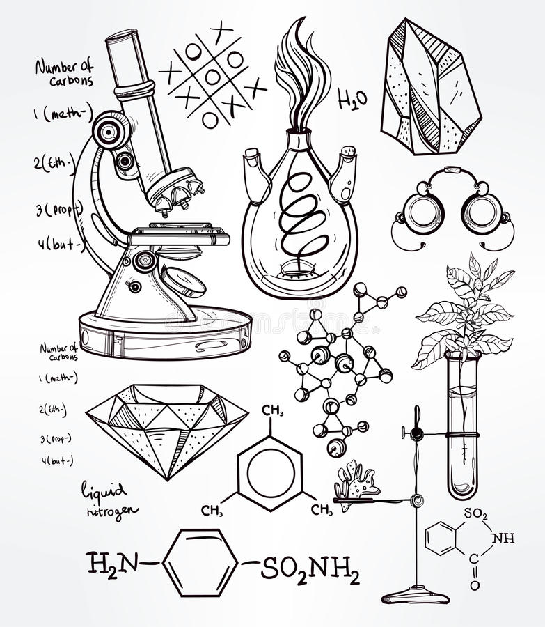 Line Drawing Rules Chemistry : Hand drawn science lab icons sketch set stock vector