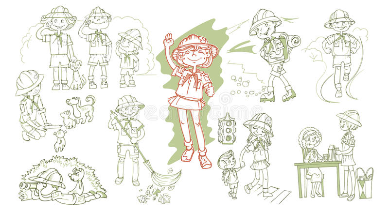 Hand Drawn Scout Teenagers Set. With different types of volunteering activity isolated vector illustration stock illustration