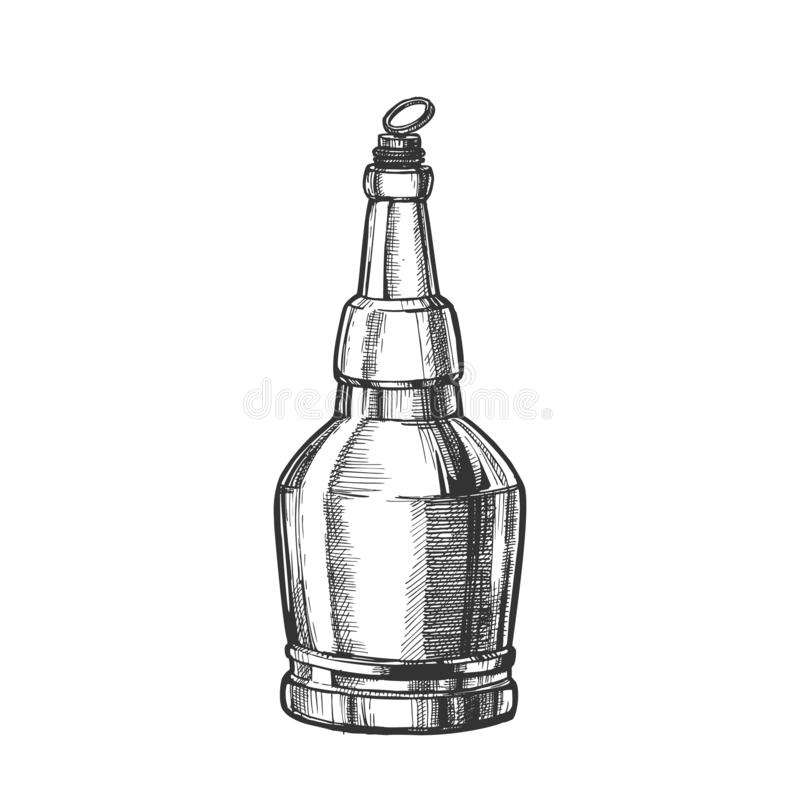 Hand Drawn Screw Cap Closed Bottle Of Beer Vector stock illustration