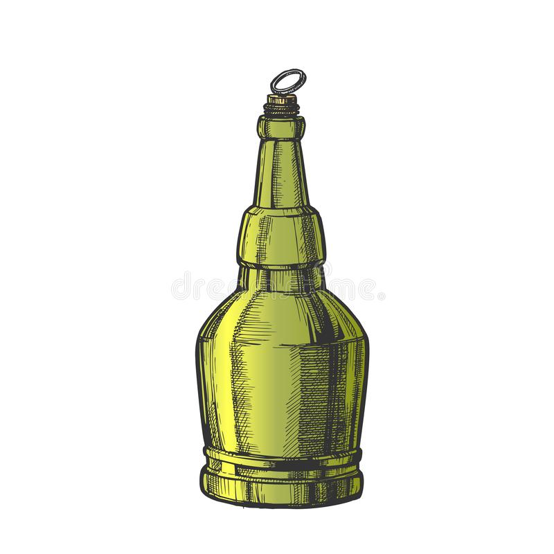 Hand Drawn Screw Cap Color Bottle Of Beer Vector stock illustration