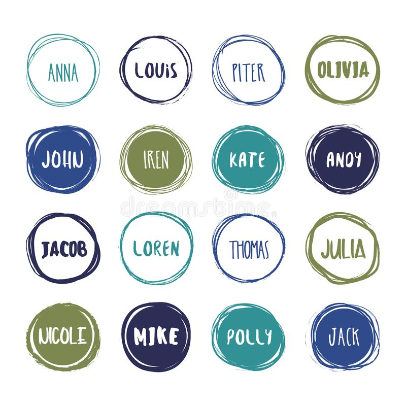 16 hand drawn scribble colorful circles with names vector set. Logo design and decoration elements stock illustration