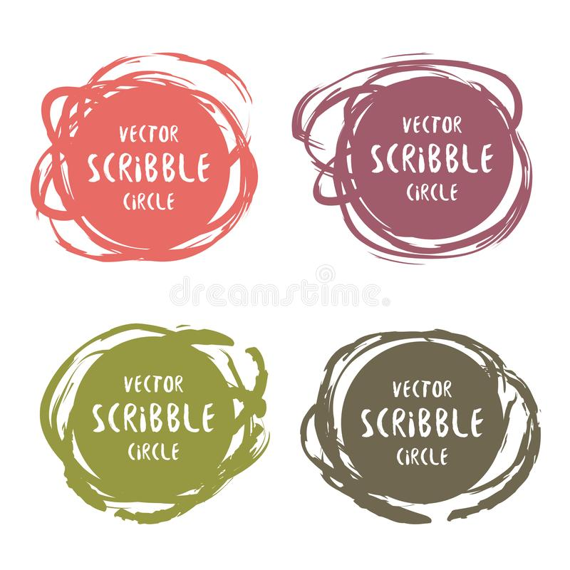Hand drawn scribble colorful labels with text vector set. Logo design and decoration elements royalty free illustration