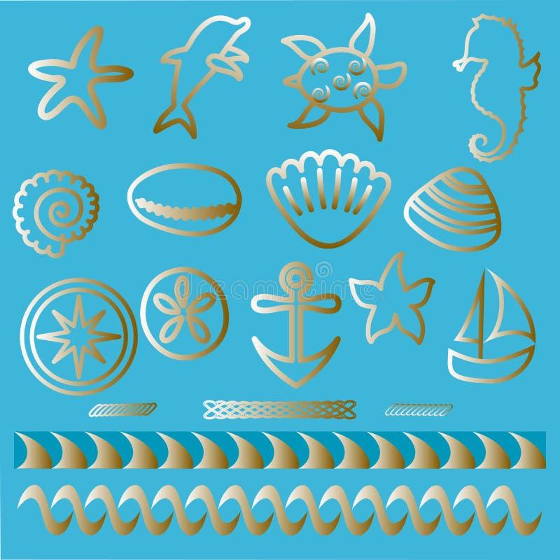 Hand drawn sea animals and nautical symbols Tattoo set Outline nautical icons. Hand drawn sea animals and nautical symbols: waves, anchor, compass, boat, sand stock illustration