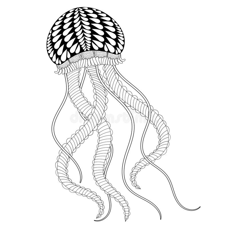 Free Hand Drawn Sea Jellyfish For Adult Coloring Pages In Doodle, Zen Stock Images - 65143424