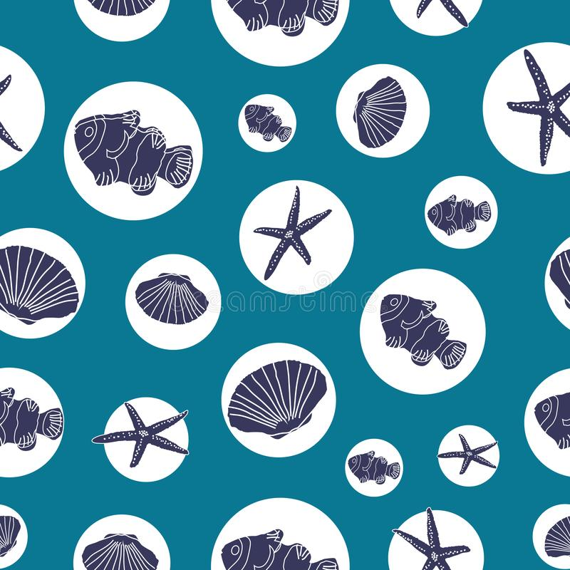 Hand drawn sea life in white circles on an ocean blue background. Seamless pattern background. Perfect for scrap booking , textile and home decor projects royalty free illustration