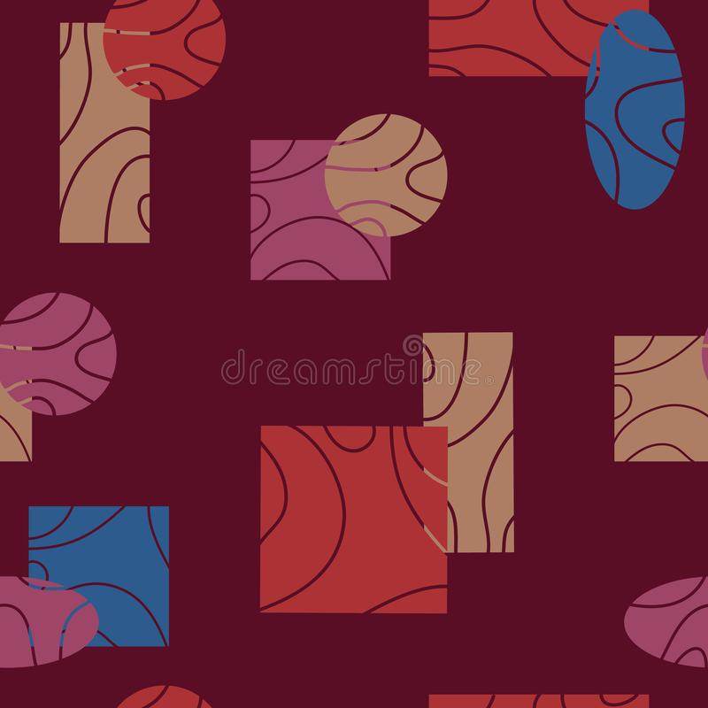 Hand drawn seamless abstract pattern with ovals,squares, rectangles,circles,lines on a dark background. Surface pattern stock illustration