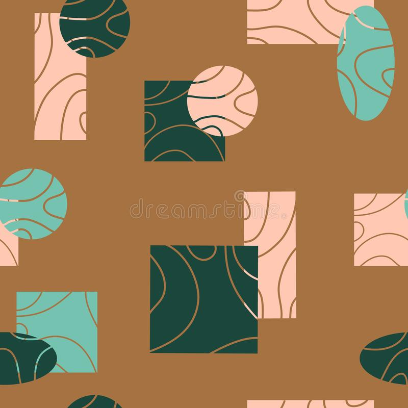 Hand drawn seamless abstract pattern with ovals,squares, rectangles,circles,lines on a light background. Surface pattern stock illustration
