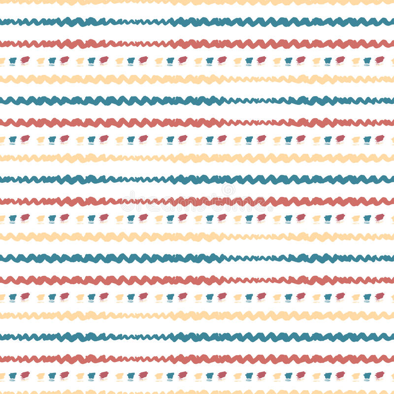 Hand drawn seamless abstract pattern. Vector horizontal stripes background. Colorful royalty free illustration