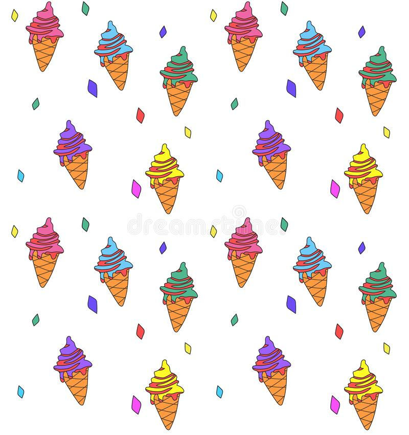 Hand drawn seamless background with colofrul icecreams and crystals. royalty free illustration