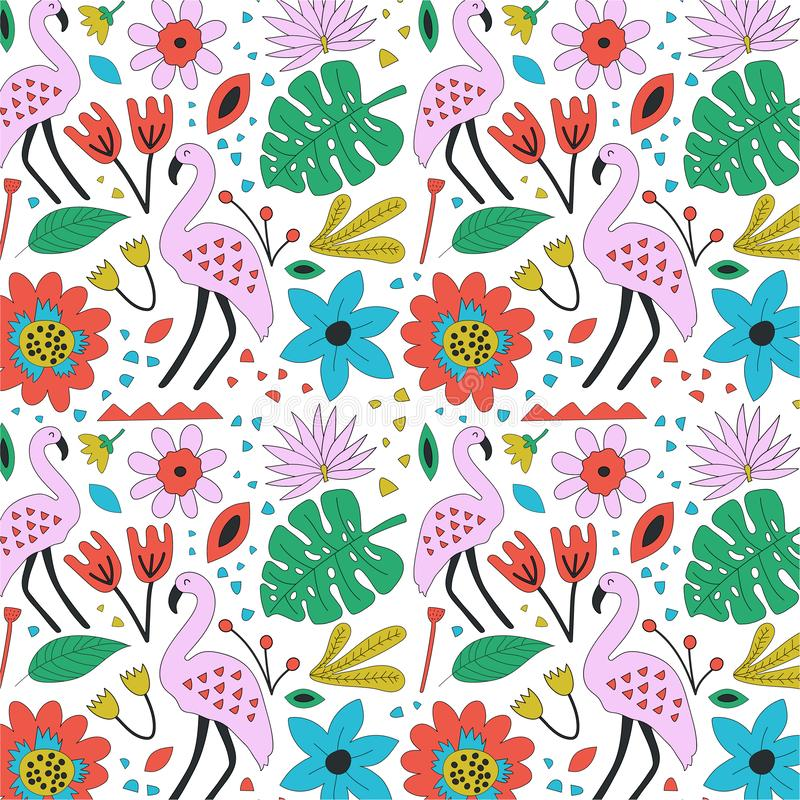 Hand drawn seamless background with flamingo and flowers. vector illustration
