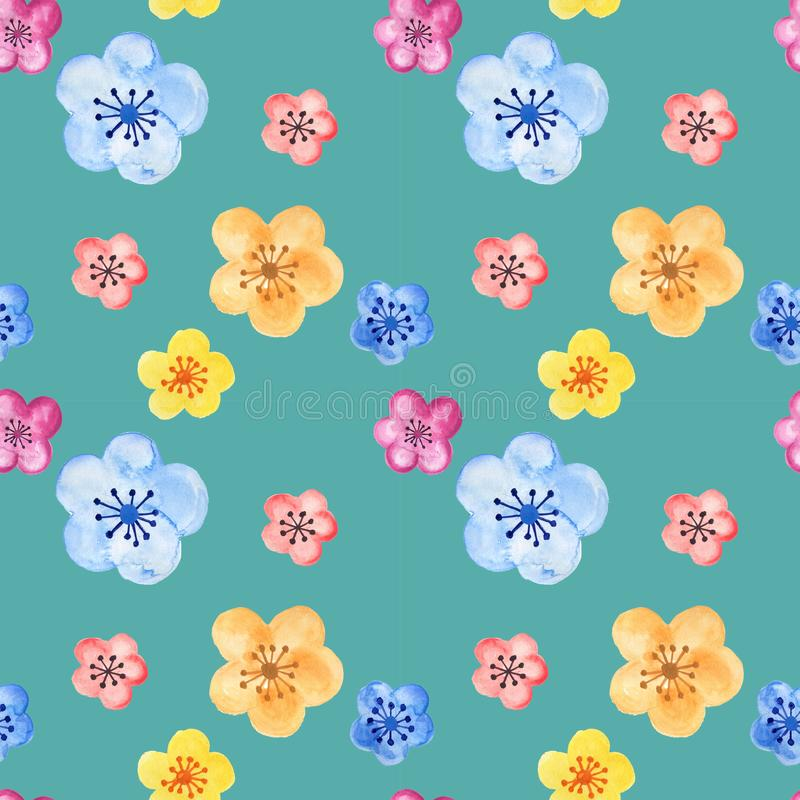Hand drawn seamless background pattern inspired by chinese Korean and Japan kimono yukata background backdrop watercolor gouache. Hand drawn seamless background royalty free illustration