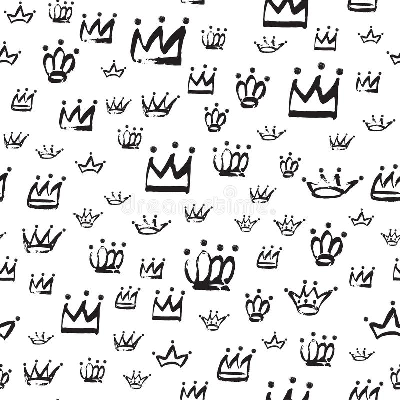 Hand drawn seamless Crown pattern in black color isolated on white. stock illustration