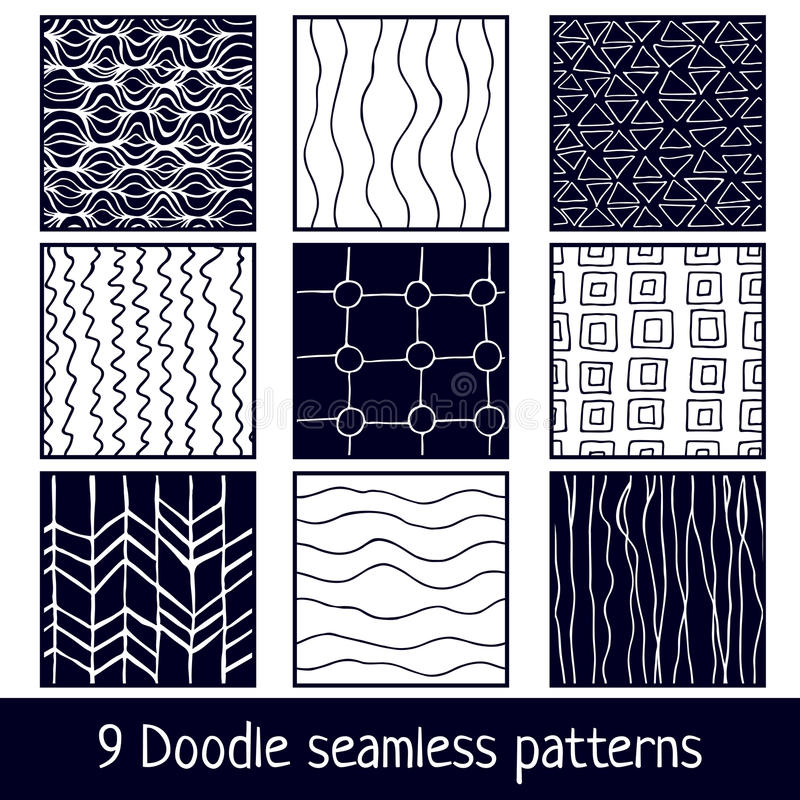 Hand drawn seamless cyan and white simple patterns vector illustration
