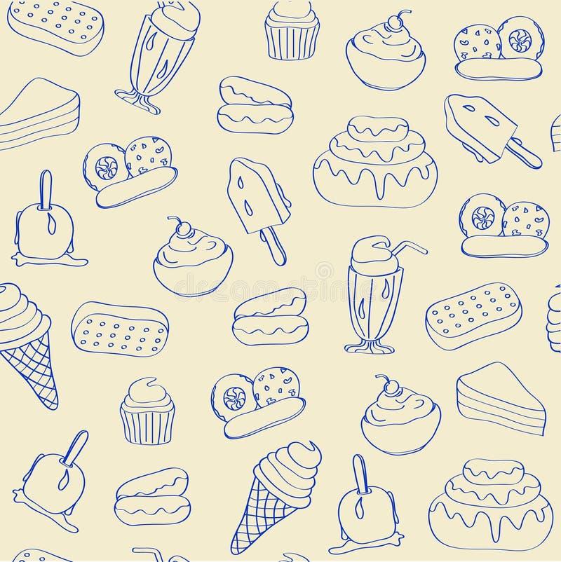 Hand Drawn Seamless Dessert Icons