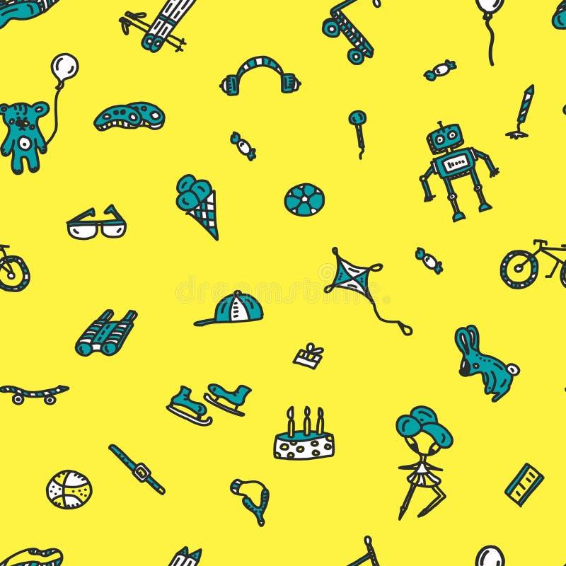Hand drawn seamless doodle pattern, birthday theme. robot bear ball doll scooter bike baseball ski sunglasses cake the vector illustration