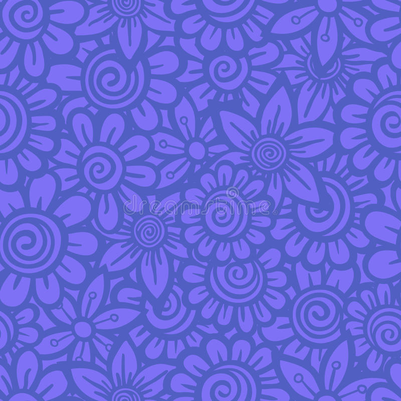 Hand drawn seamless Flower pattern. Doodle style. Vector illustration royalty free illustration